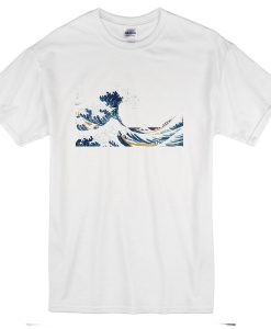 Hokusai The Great Wave Mens Custom Made White T-Shirt