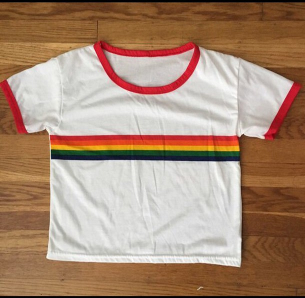 49cf9c2be rainbow ringer T-shirt
