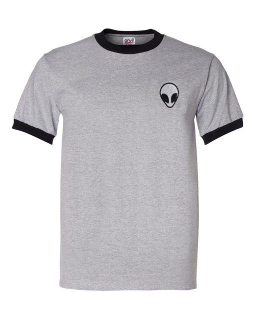 Alien logo Grey ringer T-shirt